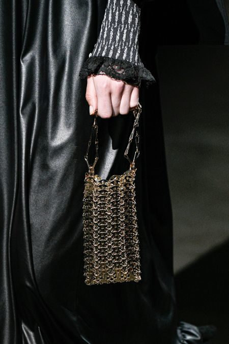 Прямоугольная металлическая сумка на цепочке Paco Rabanne